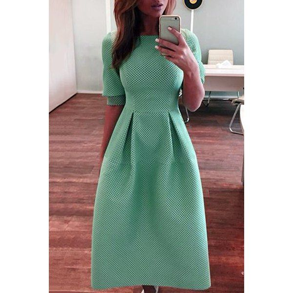 Wholesale Stylish Round Neck Half Sleeve Solid Color Women's Midi Dress Only $11.20 Drop Shipping | TrendsGal.com