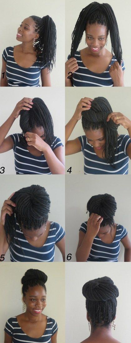 High Large Box Braids Bun