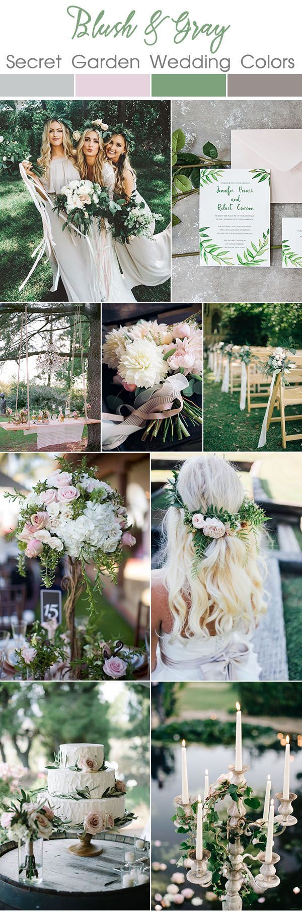 blush and gray spring and summer secret garden wedding theme ideas