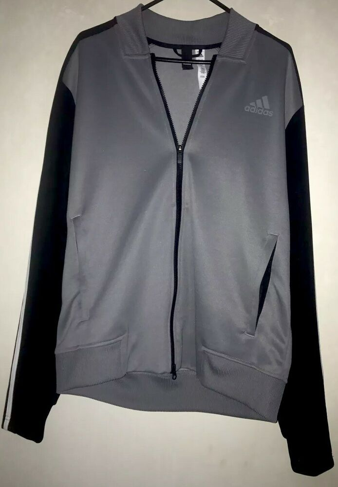 Adidas Gray And Black Full Zip Athletic Jacket Size L RN