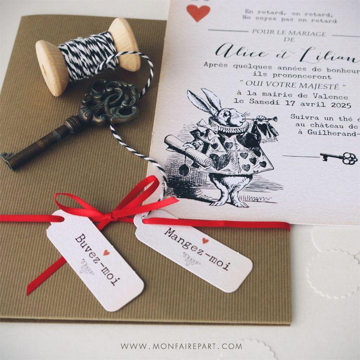 top wedding invitations016%0A Un faire part mariage pochette sous le signe des merveilles inspir   du  conte de Lewis Caroll