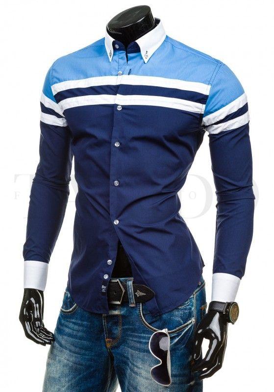 Pánská stylová košile - York, modrá s pruhem