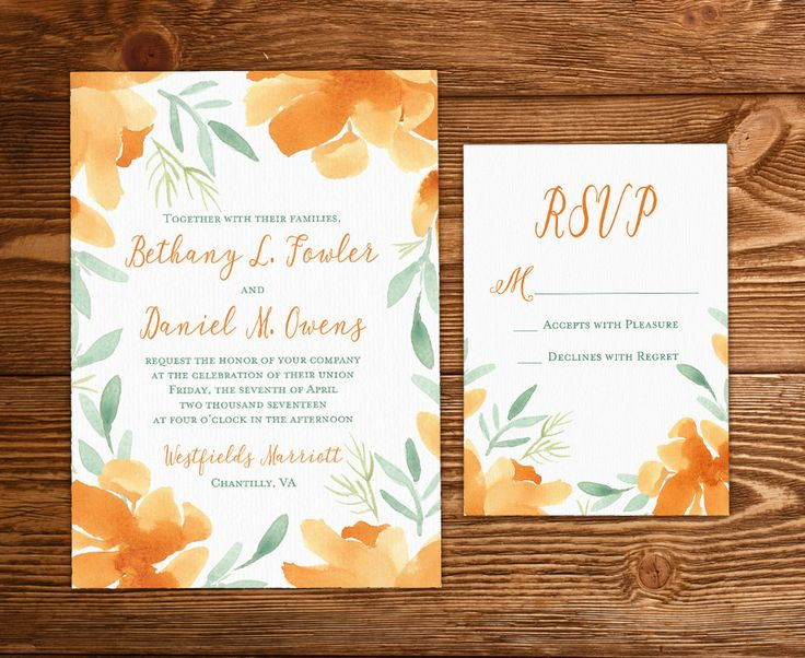 "Floral Invitation Watercolor Wedding - Rustic Wedding Invitation Set ""Orange Magnolia"" Watercolor Flowers Invitation Insert Response Card by PaintTheDayDesigns on Etsy"