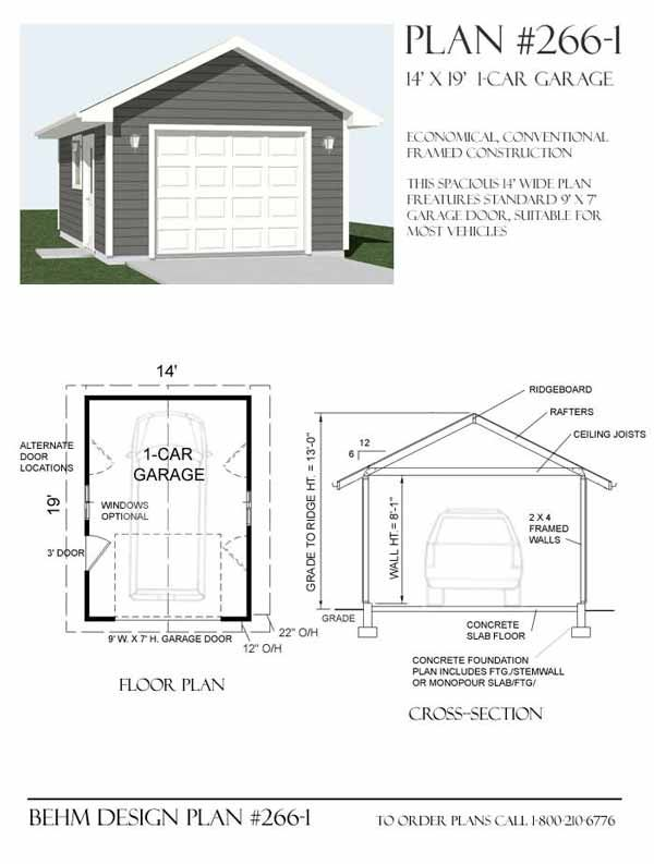 1 car garage plan 266 1 by behm design garage plans by for 1 5 car garage plans