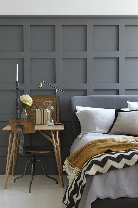 This mid to dark grey is perfect for a bedroom and you can add the panelling from any DIY store if you don't have the original. This is Scree by Little Greene who have a whole range of grey paints. See the blog for the full range