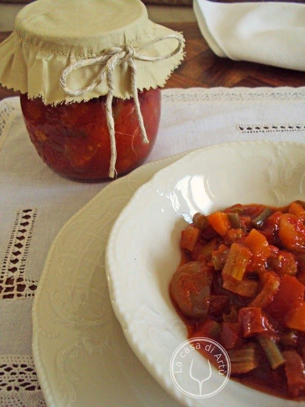 Antipasto piemontese o GIARDINIERA ALLA PIEMONTESE (Piemonte) is prepared using a great variety of vegetables with a sweet and sour tomato base #food