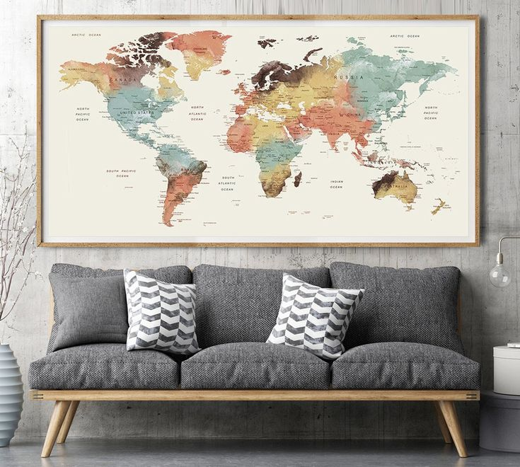 Adventure Awaits World Map, Push Pin World Map, Map pushpin, Watercolor push pin map, Large World Map Poster, map of world -L65
