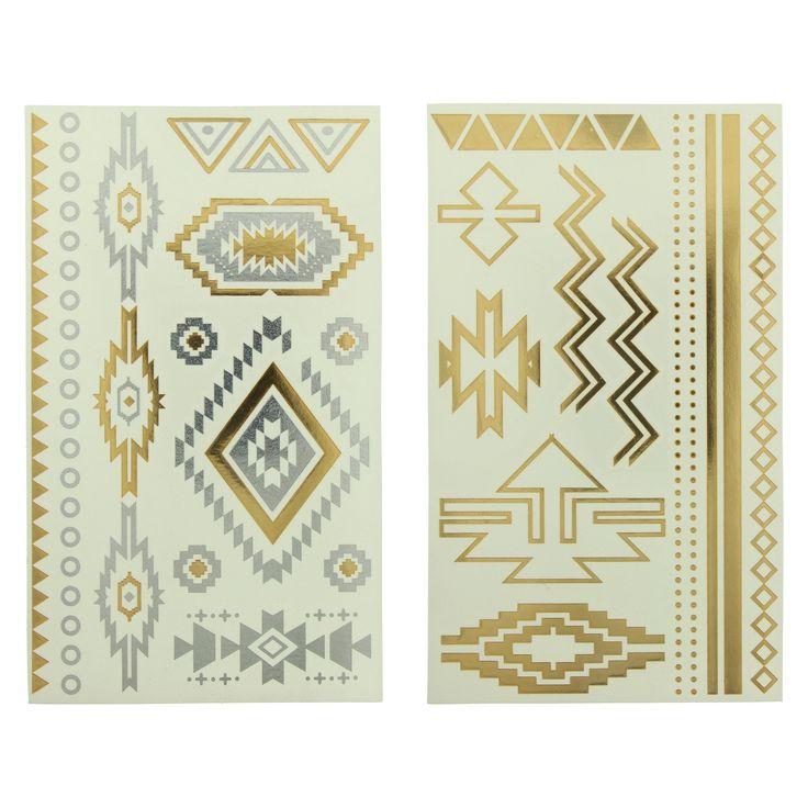 Aztec Metallic Temporary Tattoo Set 2-pk - Gold + Silver, Silver/Gold
