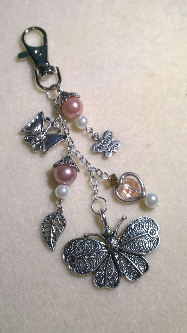 silver butterfly handbag charm