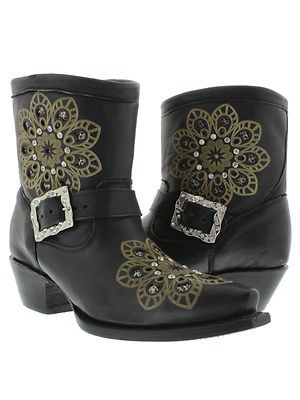 Women's Black Short Leather Ankle Cowboy Boots Western Rodeo Rhinestones