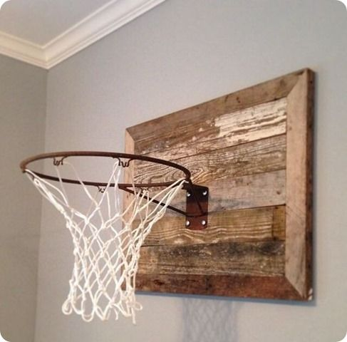 My son and I were trying to figure out what we wanted to put over his bed. I loved this idea of a basketball hoop mounted on weather wood that I saw on Fixer Upper:   So we ordered one from Amazon, b
