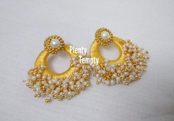 silk thread earring with loreals