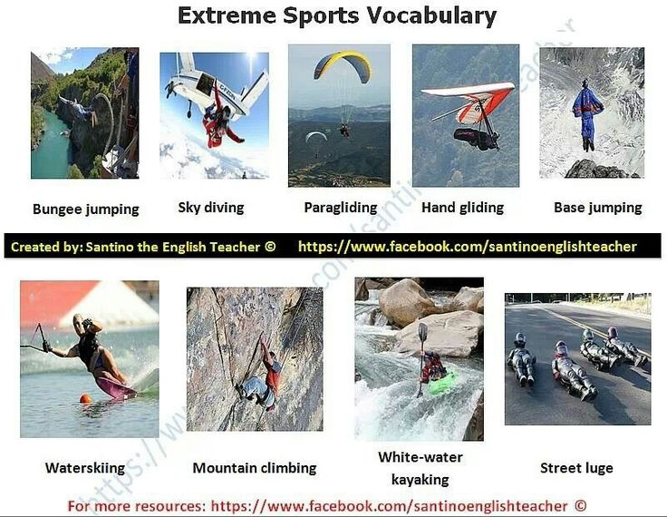 Extreme sports: vocabulary