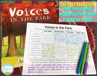 I have finally found THE BEST BOOK EVER for teaching perspective and point of view.  Voices in the Park is a must read!