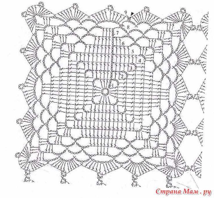 Накидка-пончо из квадратных мотивов крючком
