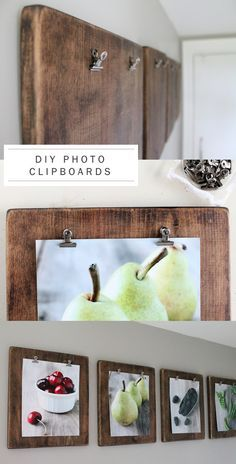 DIY rustic photo clipboard - cut squares of wood, stain, attach clips, add photos - photo inspiration only | DIY Trendy
