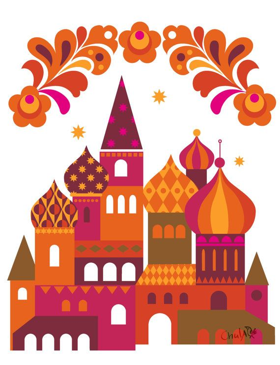 Moscow Art Print  Russia Print  St Basils Cathedral by Chulart