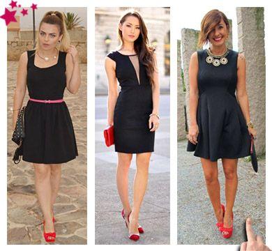 Un vestido negro con que zapatos combina