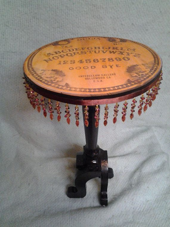 miniature Ouija board side table,with beaded edges,  candle stand, centerpiece, plant stand, Wiccan, goth, small table