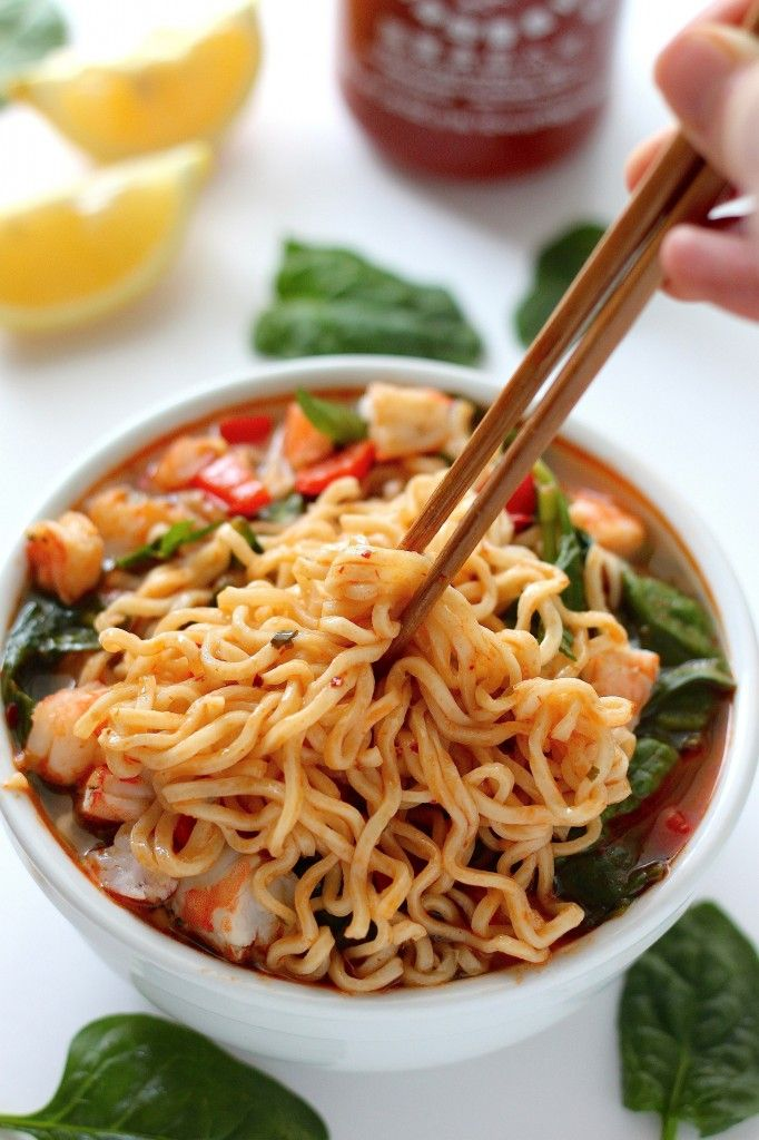 20 Minute Sriracha Shrimp Ramen Recipe Noodle Soups