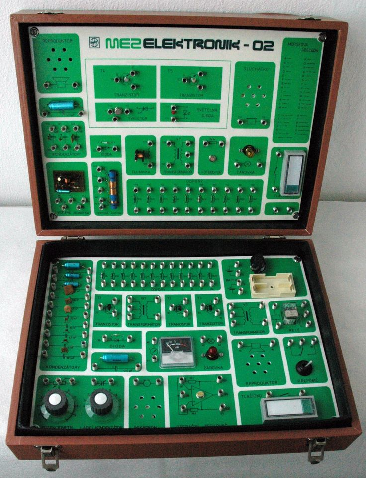 Stavebnice MEZ Elektronik 02 - dřevěný kufřík
