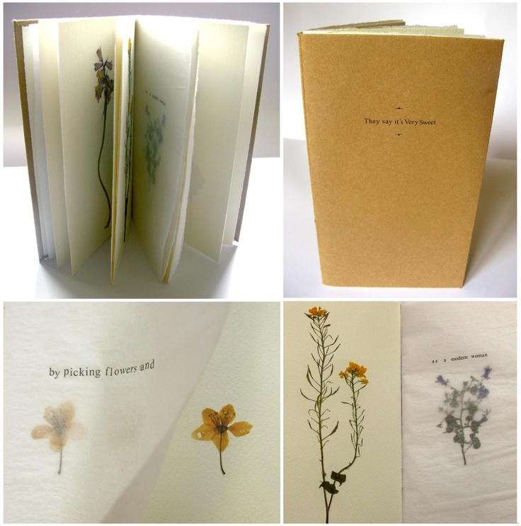 They say it's Very Sweet > Eleanor Phillips // [13.5x23.5cm, pressed flowers, transfer letters, mixed paper, 2012]