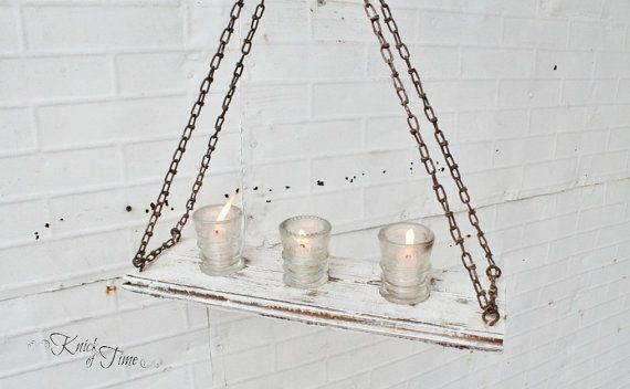 Refectory Hanging Candelabra with Antique Glass Insulators by KnickofTime