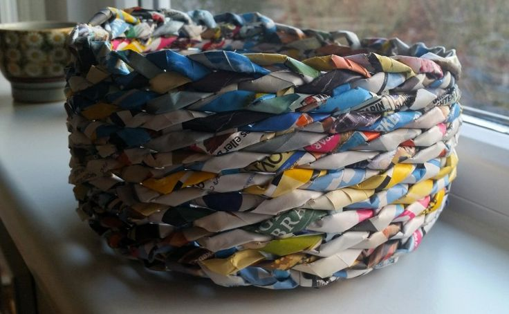 Fletkurv af genbrugspapir