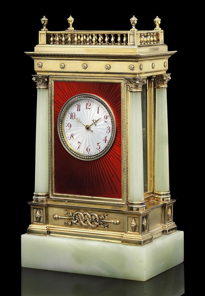 Silver-Gilt Mounted Guilloché Enamel and Bowenite Clock Marked Fabergé with the Imperial warrant, with the workmaster's mark of Julius Rappoport, St Petersburg, 1899-1908