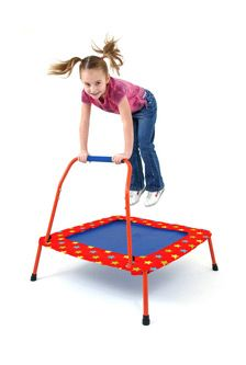 Folding Trampoline £49.99  A junior trampoline with an easy grip handle, to encourage children to exercise and keep fit! Suitable for both indoor and outdoor use, the trampoline has a tough weatherproof mat and tubular steel frame with a durable coated finish. For extra safety, the padded cover around the mat cushions the frame and prevents children from stepping through the bungee cord.