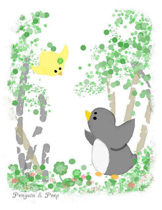 Clover Art Print 13x19 Penguin & Peep by subarashii on Etsy, $30.00
