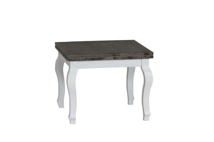 Witte bijzettafel in landelijke stijl, afgewerkt met een geolied blad van acaciahout.