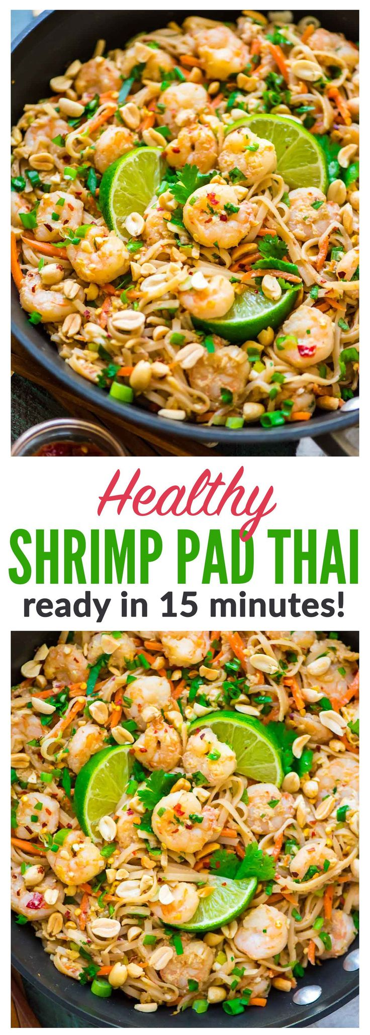 Healthy Shrimp Pad Thai. EASY and SO delicious! Ready in 15 minutes. We couldn't stop eating it! Recipe at wellplated.com | @wellplated {gluten free}