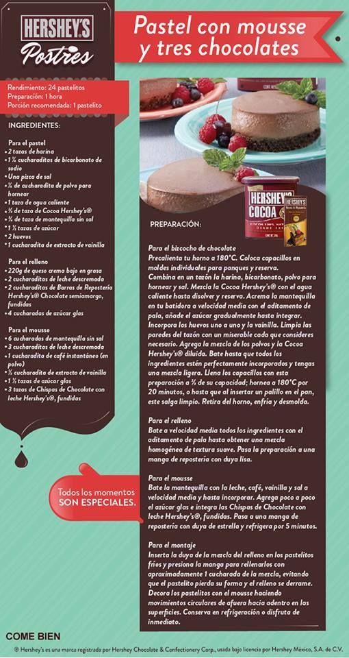 ¿Alguien tiene antojo de chocolate Hershey's® hoy? #Hersheys #Receta #Postres #Repostería #Chocolate #Tip #DIY #Idea