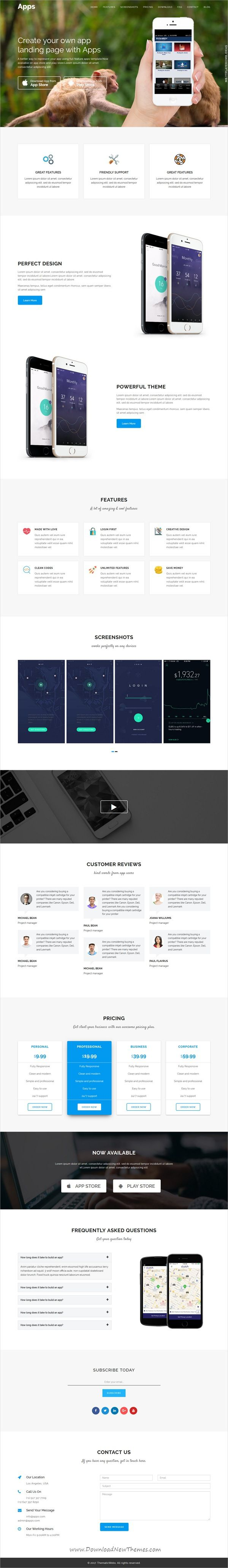 APPS is clean and modern design 2in1 responsive WordPress theme for #onepage app #landingpage website download now..