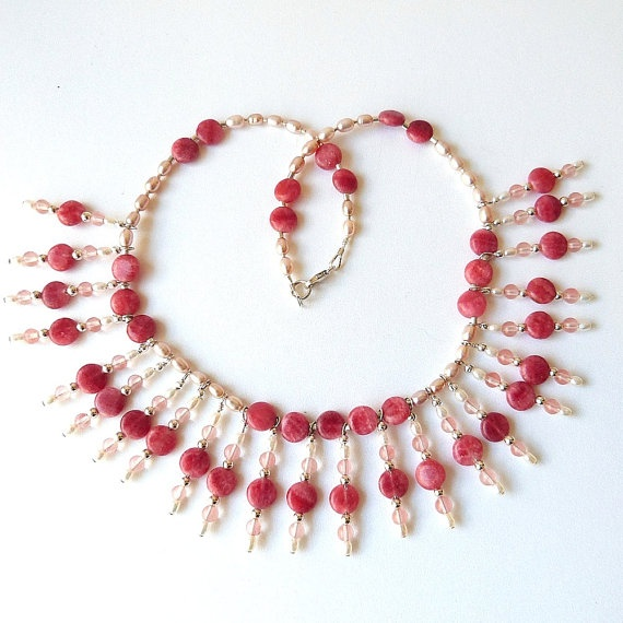 Cleopatra Collar Statement Necklace with Rhodochrosite Gemstones and Pink & White Pearls Handmade Sterling Silver. $198.00, via Etsy.