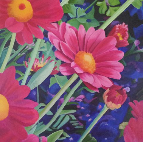 "21 Trove Exhibition ""Sweet Painted Daisy""  Original Artwork 50 cm  x 50 cm"