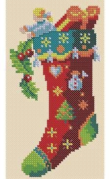 σχέδια για Χριστουγεννιάτικες κάλτσες κεντημένες σταυροβελονιά     πηγή / source               Κάνετε κλικ εδώ για το σχέδιο (Pdf).   Cl...