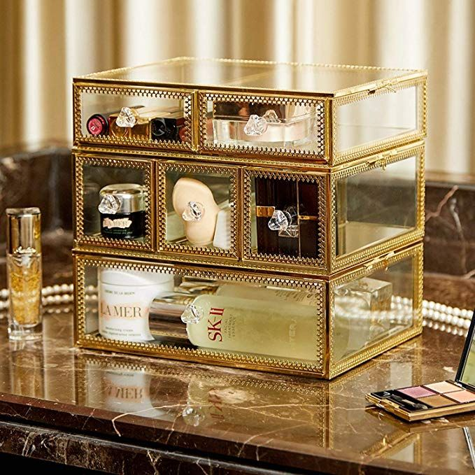 Amazon Com Putwo Vintage Makeup Organizer 3 Layers 6 Drawers
