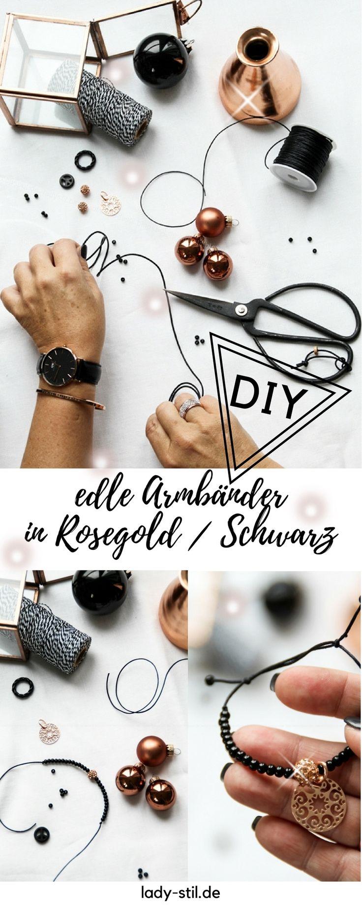 Lastminute Christmas-Tipp und DIY Armbänder Rosegold Schwarz – Lady Stil  –  Interior Blogger DIY Wohnen Deko