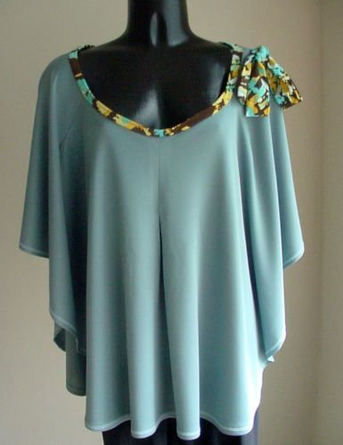 RESORT-designer-seafoam-slate-blue-Cape-Poncho-Top-One-size-Abstract-Bow