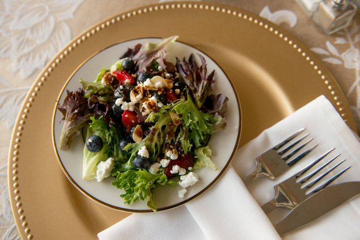 Our summer salad with blueberries, strawberries and goat cheese