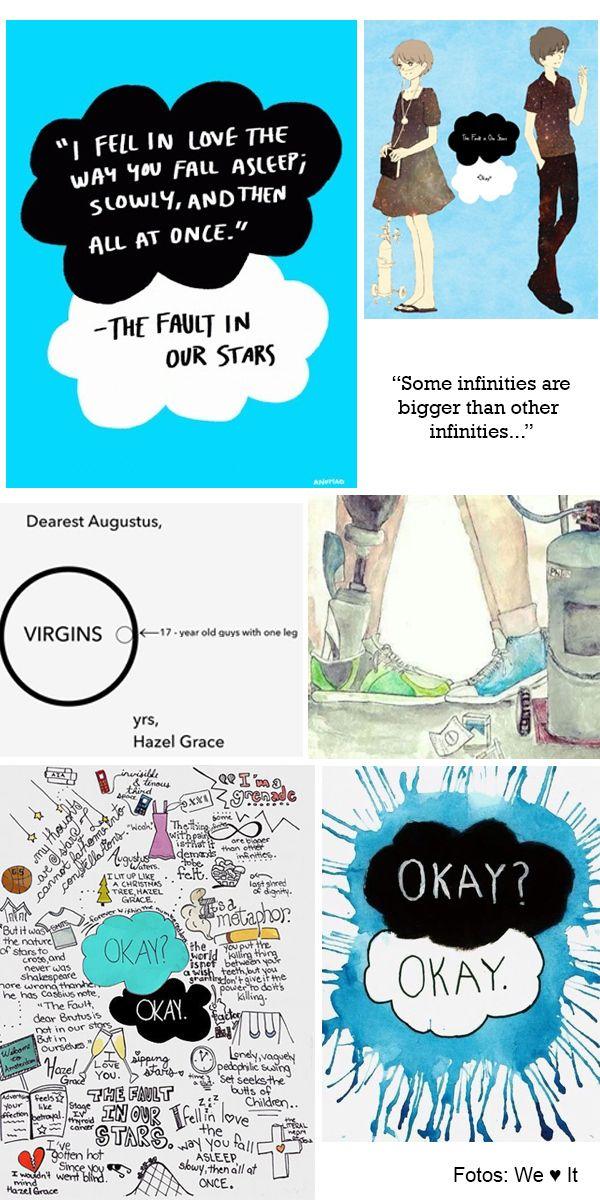 the fault is in our stars - ilustrações sobre o livro best seller de John Green  http://viroutendencia.com/2014/01/29/saiu-o-trailer-de-a-culpa-e-das-estrelas/