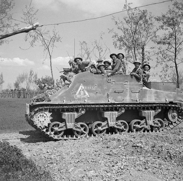 Priest-Kangaroo-Conselice (armoured personnel carrier). The first Kangaroos were converted from M7 Priest self-propelled guns at a field workshop (codenamed Kangaroo, hence the name). They were stripped of their 105mm guns, the front aperture welded over, then sent into service carrying twelve troops. They were first used on 8 August 1944 during Operation Totalize south of Caen to supplement the half-tracks available.