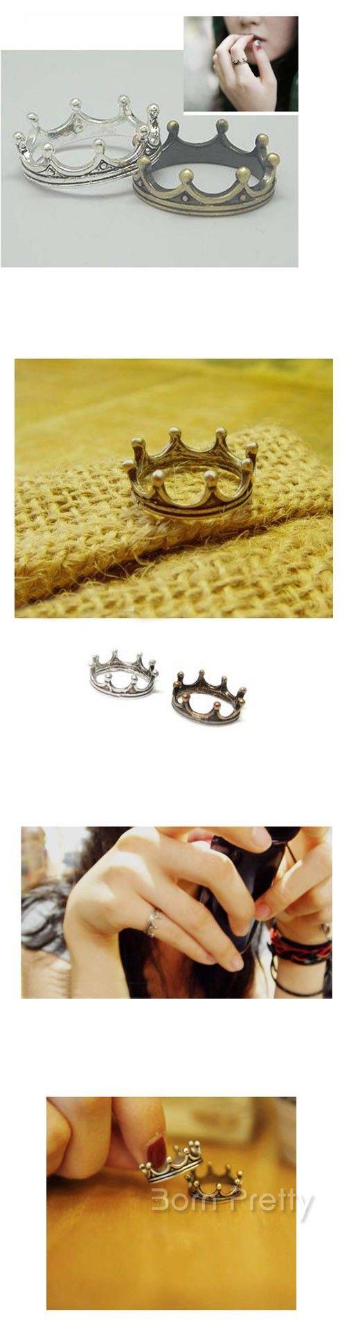 $0.99 1Pc Vintage Crown Shaped Ring Fashion Ring - BornPrettyStore.com