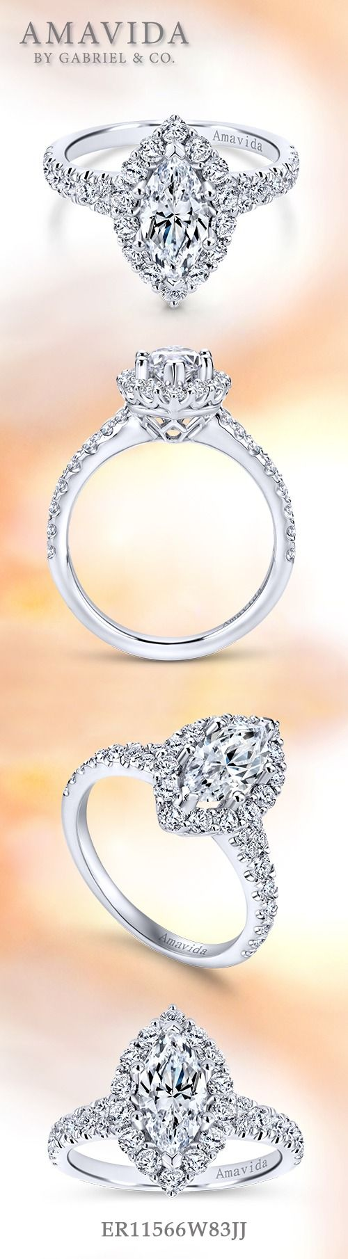 Gabriel & Co.-Voted #1 Most Preferred Fine Jewelry and Bridal Brand.  18k White Gold Marquise Halo Engagement Ring