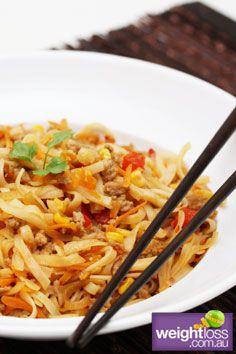 Thai Chilli Pork with Noodles. #HealthyRecipes #StirFryRecipes #WeightLoss #WeightlossRecipes weightloss.com.au