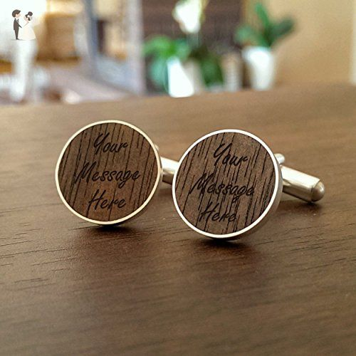 Mens cufflinks Sterling silver cufflinks Walnut wood great for Anniversary,Birthday,Personalized gift for Him,Gift for Husband | 925 Silver, Walnut | Size 0.63x0.63 inches | Gift letter | Handmade - Groom cufflinks and tie clips (*Amazon Partner-Link)