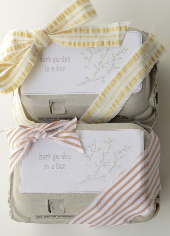 : Gifts Ideas, Gifts In Eggs Boxes, Awesome Ideas, Eggs Cartons, Herbs Gardens Crafts, Gardens Gifts, Little Gifts, Pretty Packaging, Eggcarton