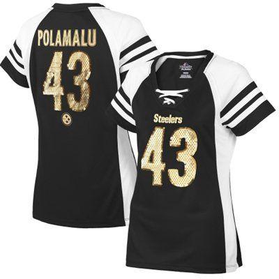 Troy Polamalu Pittsburgh Steelers Majestic Women's Draft Him IV T-Shirt – Black